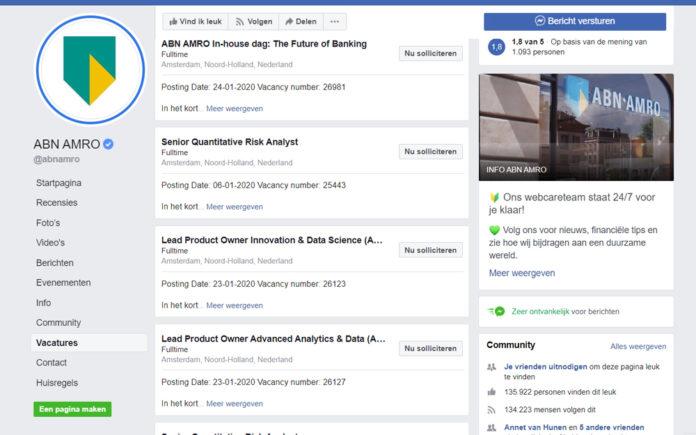 Facebook gaat Google for Jobs achterna en plaatst vacatures: